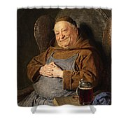 A Seated Monk With A Tankard Shower Curtain