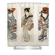 A Set Of Three Woodblock Prints Kakemono Shower Curtain