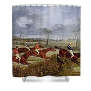 A Steeplechase - Near The Finish Henry Thomas Alken Shower Curtain