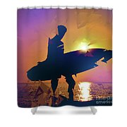 A Surfer Watching The Waves At Sunset Shower Curtain