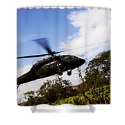 A U.s. Army Uh-60 Black Hawk Helicopter Shower Curtain