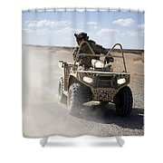 A U.s. Soldier Performs Off-road Shower Curtain