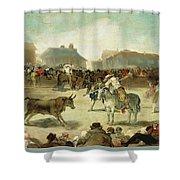 A Village Bullfight Shower Curtain