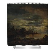 A Village By A River In Moonlight Shower Curtain