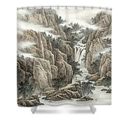 A Waterfall In The Mountains Shower Curtain