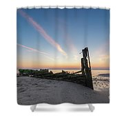 Abandoned Boat Sunset  Shower Curtain