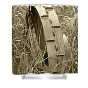 Abandoned Steel Farm Implement Wheel Shower Curtain