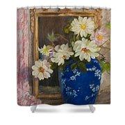 Abbott Graves 1859-1936 Flowers In A Blue Vase Shower Curtain
