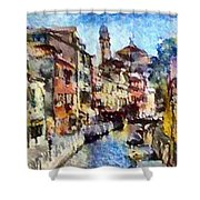 Abstract Canal Scene In Venice L A S Shower Curtain