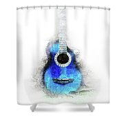 Abstract Guitar In The Foreground Close Up On Watercolor Painting Background. Shower Curtain