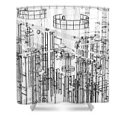 Abstract Industrial And Technology Background Shower Curtain