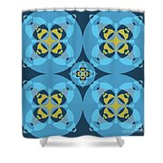 Abstract Mandala Cyan, Dark Blue And Yellow Pattern For Home Decoration Shower Curtain
