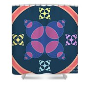 Abstract Mandala Pink, Dark Blue And Cyan Pattern For Home Decoration Shower Curtain