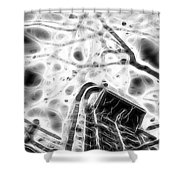 Abstract Modern Building And Tree Silhouette Pattern Design Shower Curtain