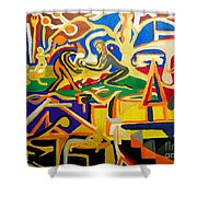 Abstract Number Nine  Shower Curtain