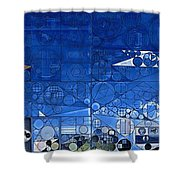 Abstract Painting - Yale Blue Shower Curtain
