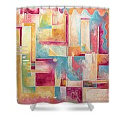Abstract Pop Art Style Unique Pastel Painting Contemporary Art By Megan Duncanson Shower Curtain