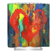 Abstract Red Heart Acrylic Painting Shower Curtain