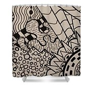 Aceo Zentangle Abstract Design Shower Curtain