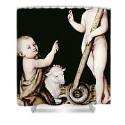 Adoration Of The Child Jesus By St John The Baptist Shower Curtain