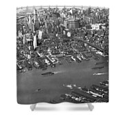 Aerial View Of Lower Manhattan Shower Curtain