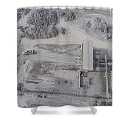 Aerial View Of Open Pit Sand Quarries.  View From Above.  Shower Curtain