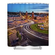 Aerial View On Placa Espanya And Montjuic Hill With National Art Shower Curtain