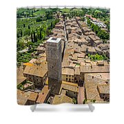 Aerial Wide-angle View Of The Historic Town Of San Gimignano Wit Shower Curtain