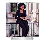 African American Businesswoman Working In New York Shower Curtain