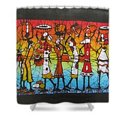 African Woman Carrying On Head Shower Curtain