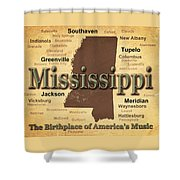 Aged Mississippi State Pride Map Silhouette  Shower Curtain