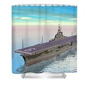 Aircraft Carrier - 3d Render Shower Curtain