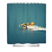 Aircraft Firefighter Take Water In The Sea Shower Curtain by Raimond Klavins