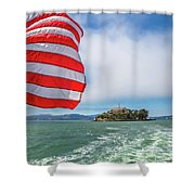 Alcatraz Island With American Flag Shower Curtain