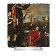 Allocution Of Marquis Del Vasto To His Troops Shower Curtain
