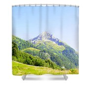 Alpine Mountain Peak Landscape. Shower Curtain