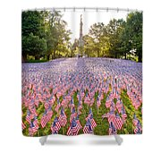 American Flags Shower Curtain by Susan Cole Kelly