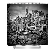 Amsterdam Flower Canal Black And White Shower Curtain