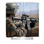 An Afghan Commando Scans The Horizon Shower Curtain