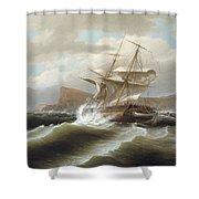 An American Ship In Distress Shower Curtain