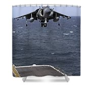 An Av-8b Harrier II Prepares To Land Shower Curtain