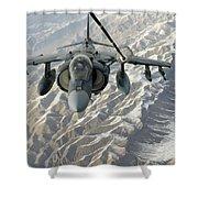 An Av-8b Harrier Receives Fuel Shower Curtain