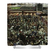 An Elevated View Of Traders Shower Curtain