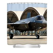 An F-35 Lightning II Taxiing At Eglin Shower Curtain