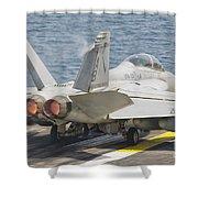 An Fa-18f Super Hornet Taking Off Shower Curtain