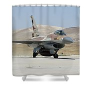 An Israeli Air Force F-16a Netz Taxiing Shower Curtain