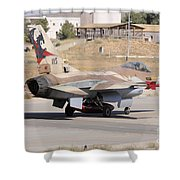 An Israeli Air Force F-16b Netz Taxiing Shower Curtain