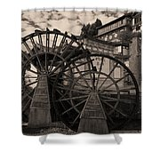 Ancient Chinese Waterwheels Shower Curtain