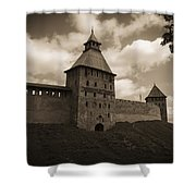 Ancient Walls. Sepia Shower Curtain