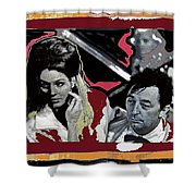 Angie Dickinson Robert Mitchum Pose Collage Young Billy Young Old Tucson Arizona 1968-2013 Shower Curtain